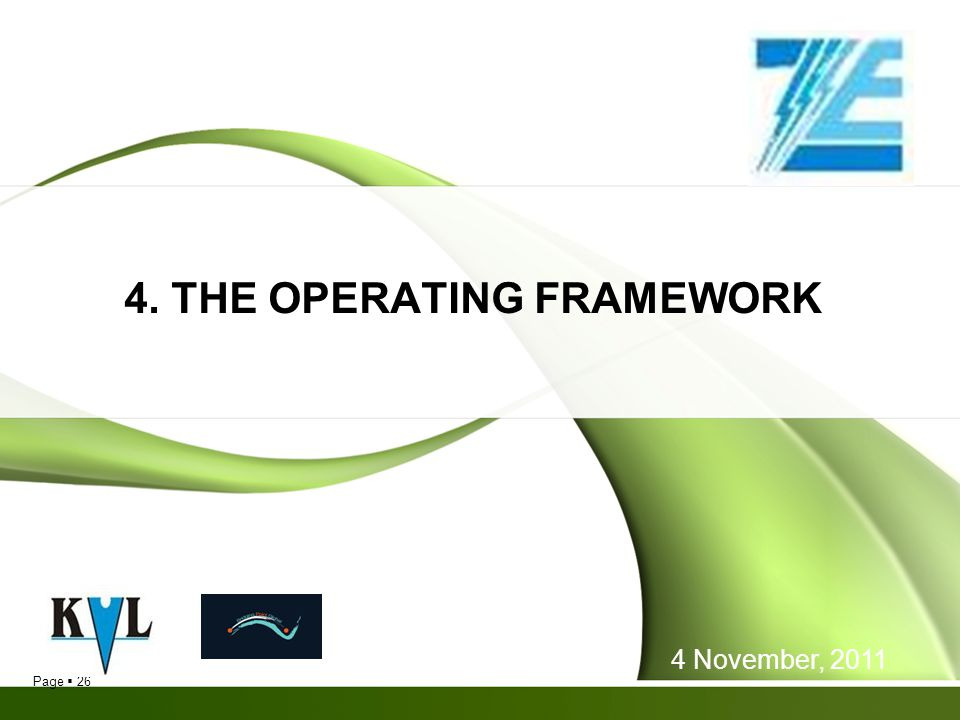 4. THE OPERATING FRAMEWORK