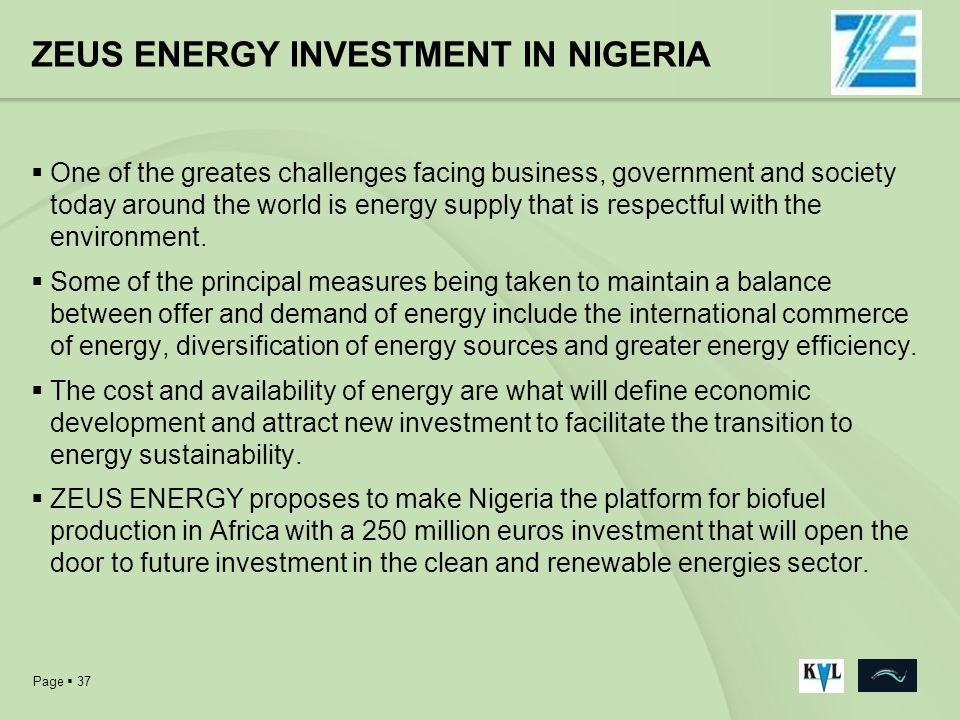 ZEUS ENERGY INVESTMENT IN NIGERIA