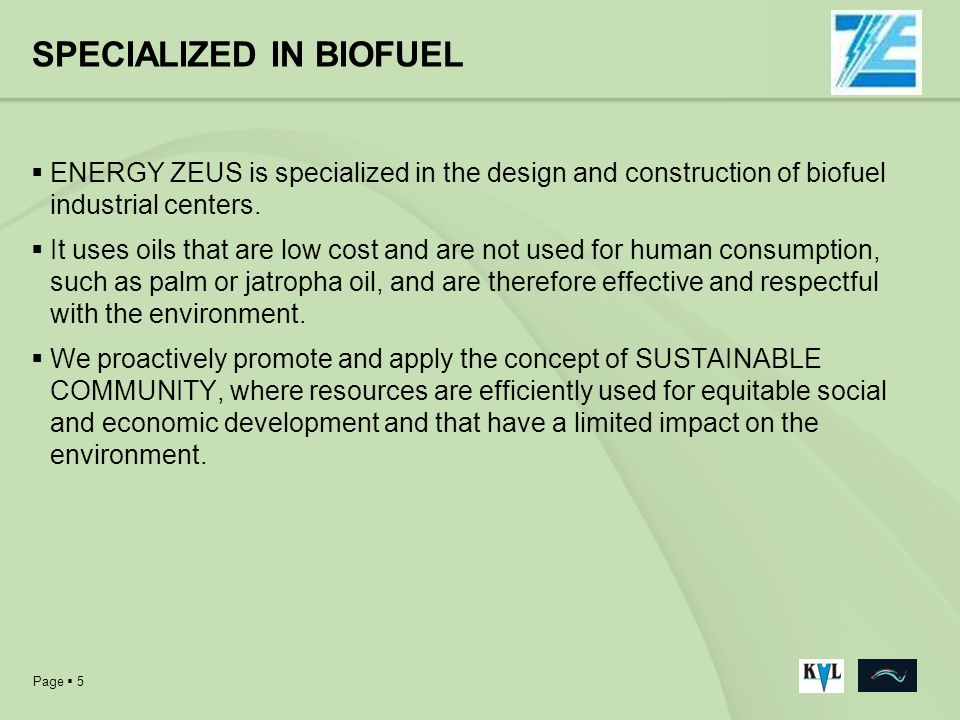 SPECIALIZED IN BIOFUEL
