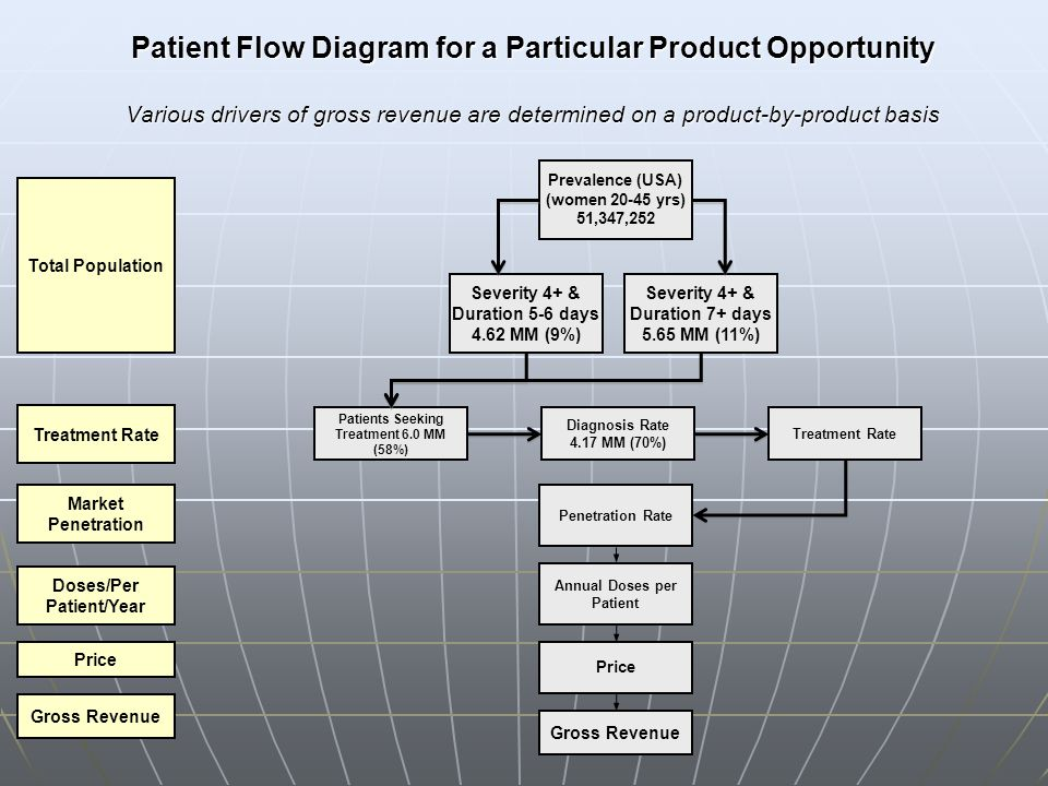 Patient Flow Diagram for a Particular Product Opportunity Various drivers of gross revenue are determined on a product-by-product basis
