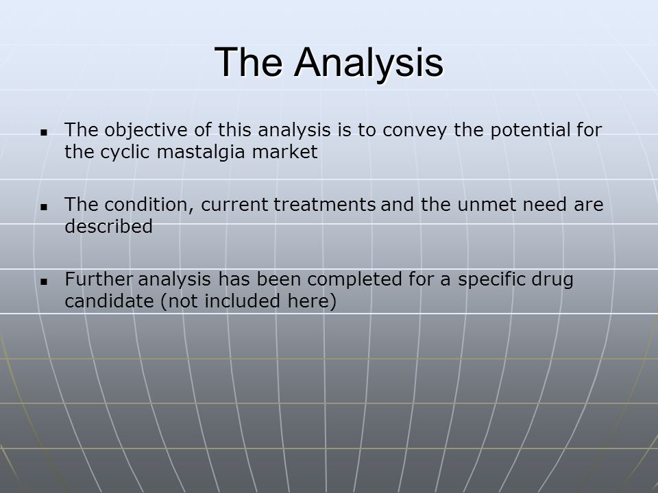 The Analysis The objective of this analysis is to convey the potential for the cyclic mastalgia market.