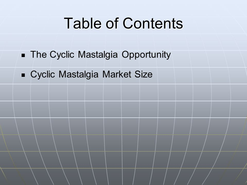 Table of Contents The Cyclic Mastalgia Opportunity