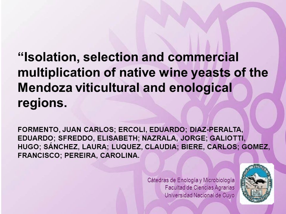 Isolation, selection and commercial multiplication of native wine yeasts of the Mendoza viticultural and enological regions.
