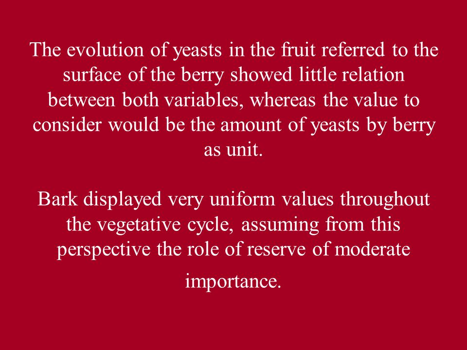 The evolution of yeasts in the fruit referred to the surface of the berry showed little relation between both variables, whereas the value to consider would be the amount of yeasts by berry as unit. Bark displayed very uniform values throughout the vegetative cycle, assuming from this perspective the role of reserve of moderate importance.