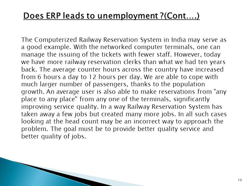Does ERP leads to unemployment (Cont….)
