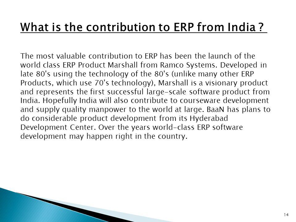What is the contribution to ERP from India