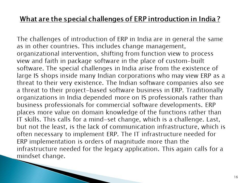 What are the special challenges of ERP introduction in India