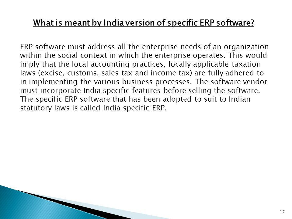 What is meant by India version of specific ERP software
