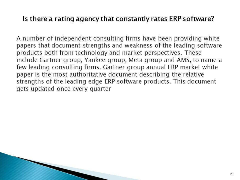 Is there a rating agency that constantly rates ERP software