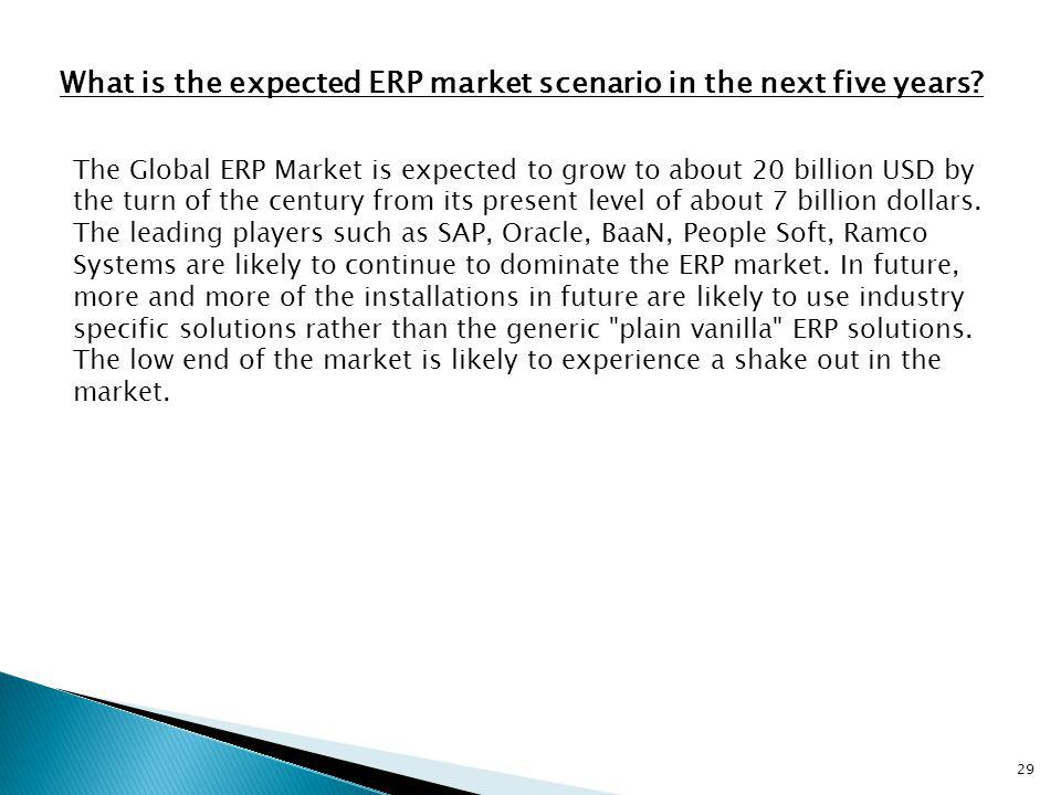 What is the expected ERP market scenario in the next five years