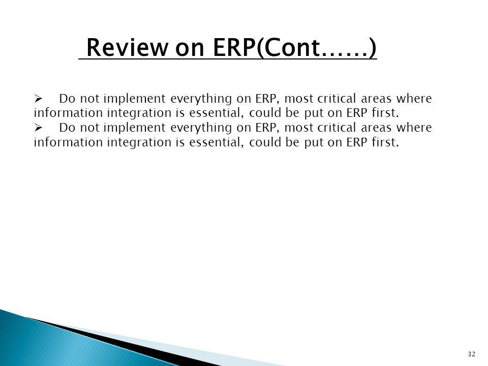 Review on ERP(Cont……)