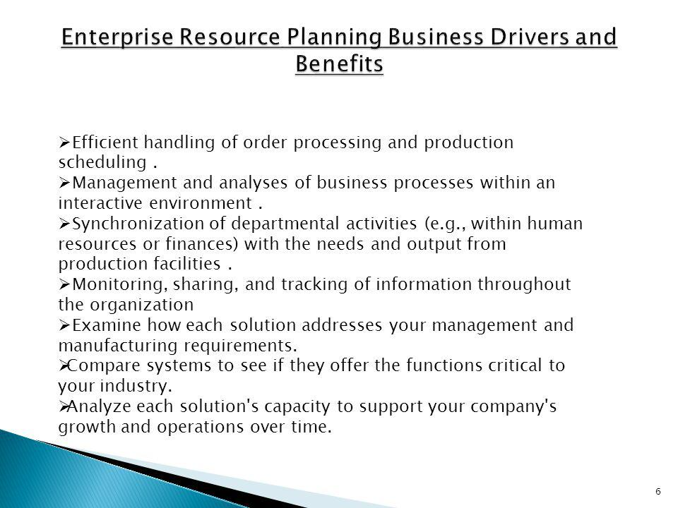 Enterprise Resource Planning Business Drivers and Benefits