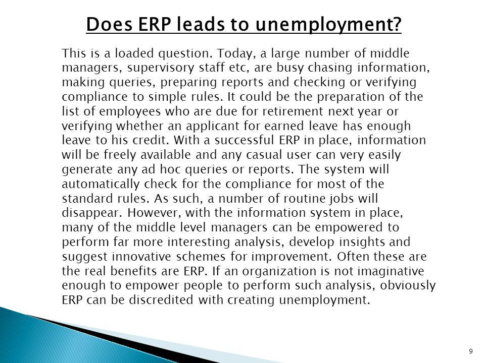 Does ERP leads to unemployment