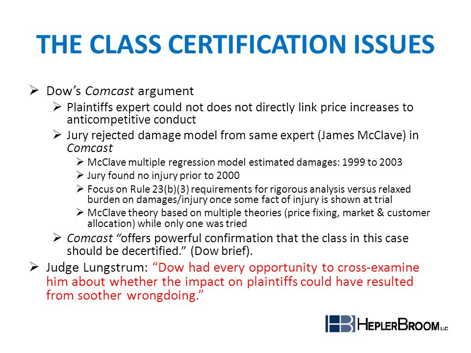 The Class Certification Issues