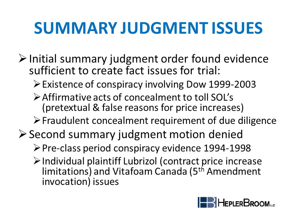 Summary judgment issues