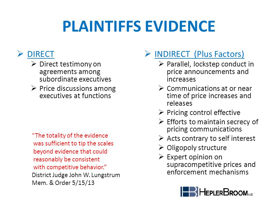PLAINTIFFS EVIDENCE DIRECT INDIRECT (Plus Factors)