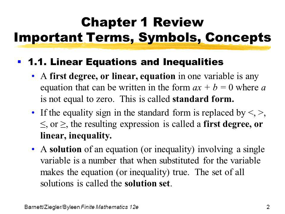 Chapter 1 Review Important Terms, Symbols, Concepts