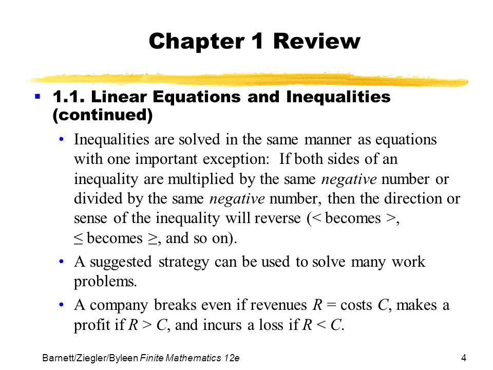 Chapter 1 Review 1.1. Linear Equations and Inequalities (continued)