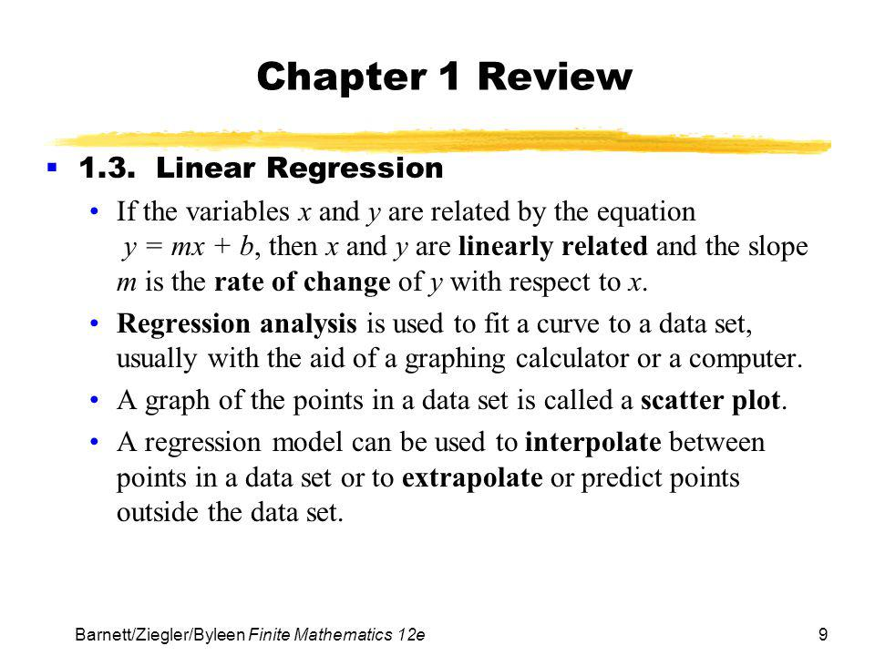 Chapter 1 Review 1.3. Linear Regression