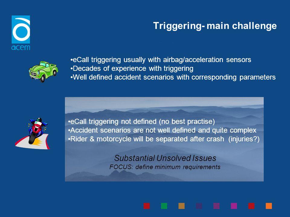 Triggering- main challenge