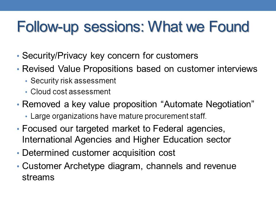 Follow-up sessions: What we Found