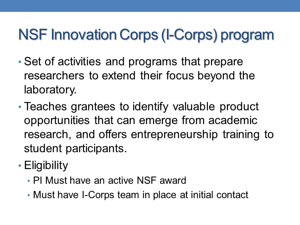 NSF Innovation Corps (I-Corps) program