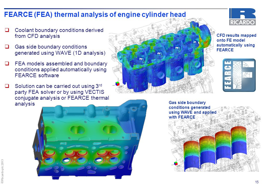 FEARCE (FEA) thermal analysis of engine cylinder head