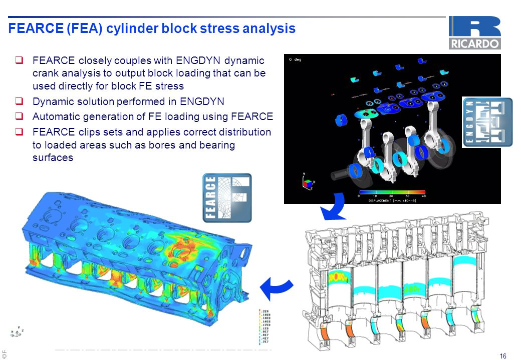 FEARCE (FEA) cylinder block stress analysis