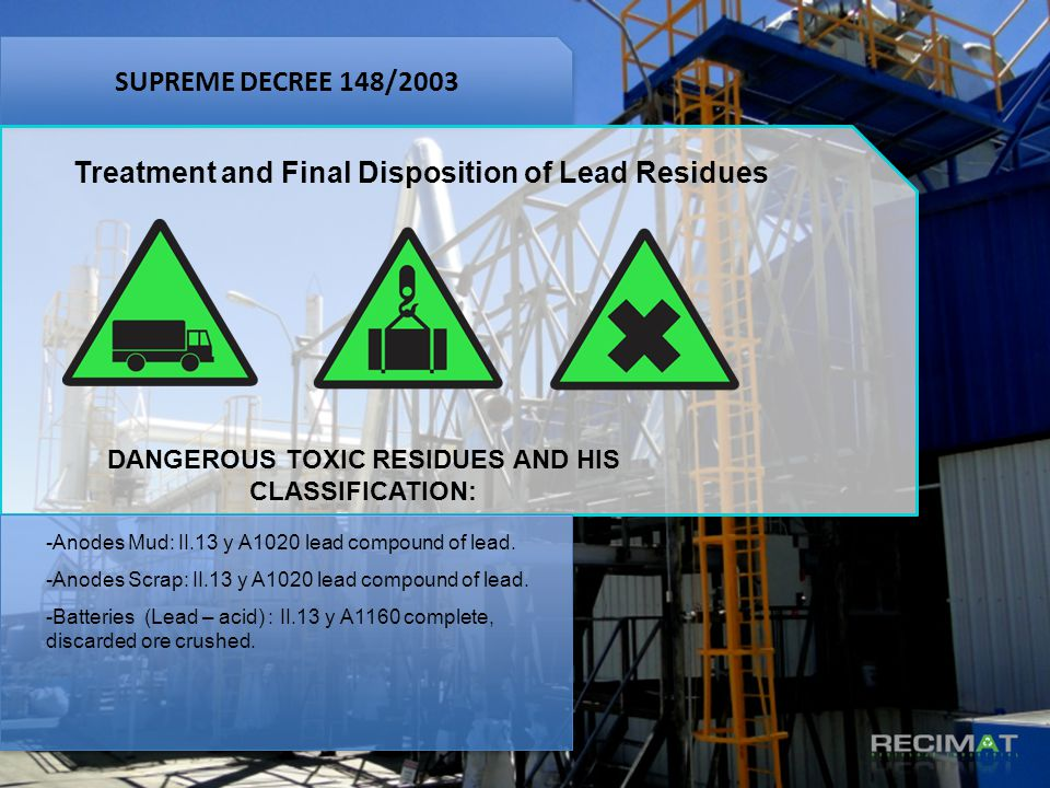 Treatment and Final Disposition of Lead Residues