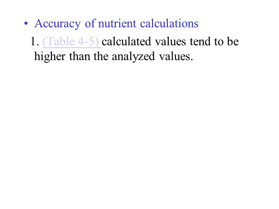 Accuracy of nutrient calculations