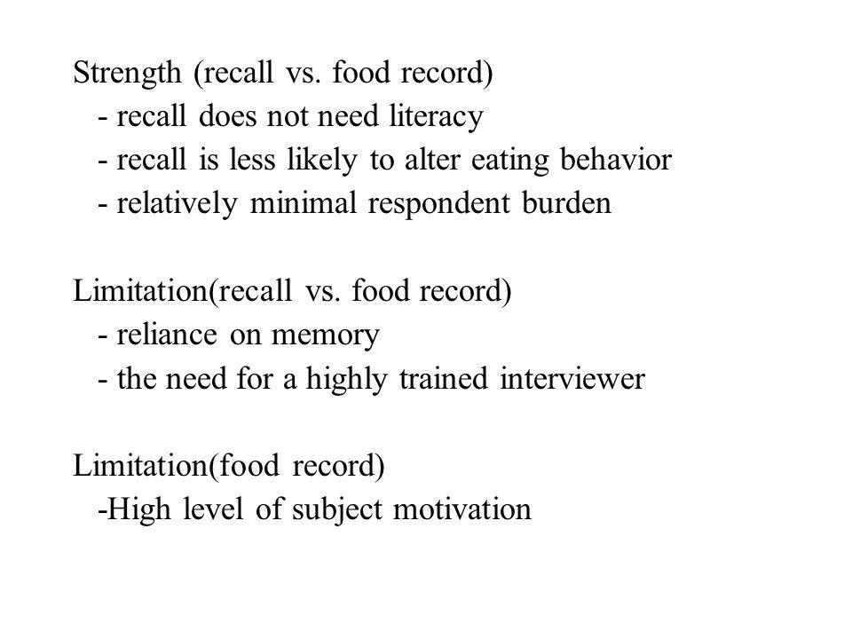 Strength (recall vs. food record)