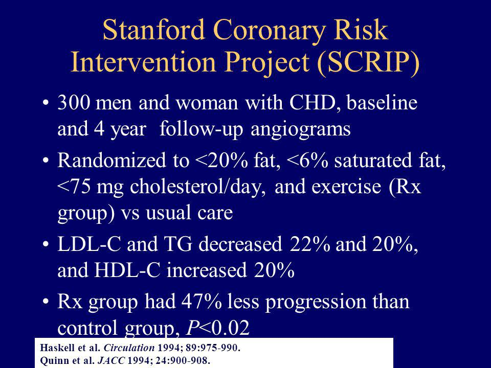 Stanford Coronary Risk Intervention Project (SCRIP)