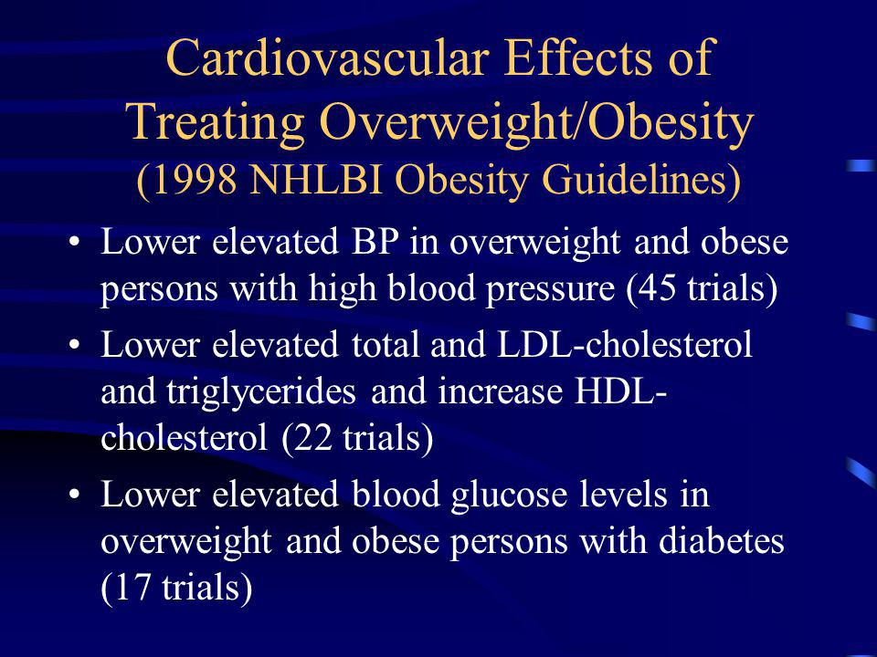 Cardiovascular Effects of Treating Overweight/Obesity (1998 NHLBI Obesity Guidelines)