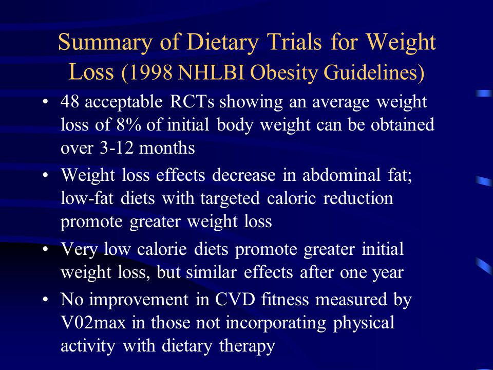 Summary of Dietary Trials for Weight Loss (1998 NHLBI Obesity Guidelines)