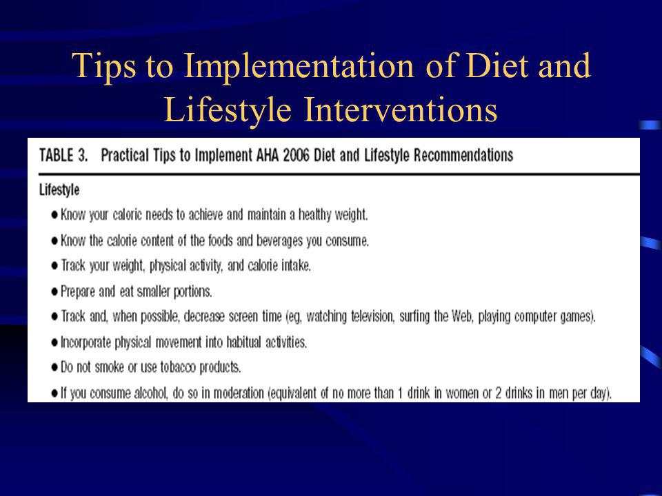 Tips to Implementation of Diet and Lifestyle Interventions