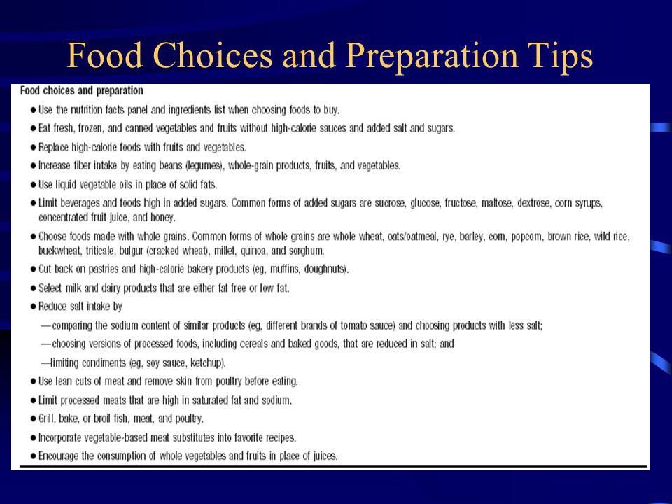 Food Choices and Preparation Tips