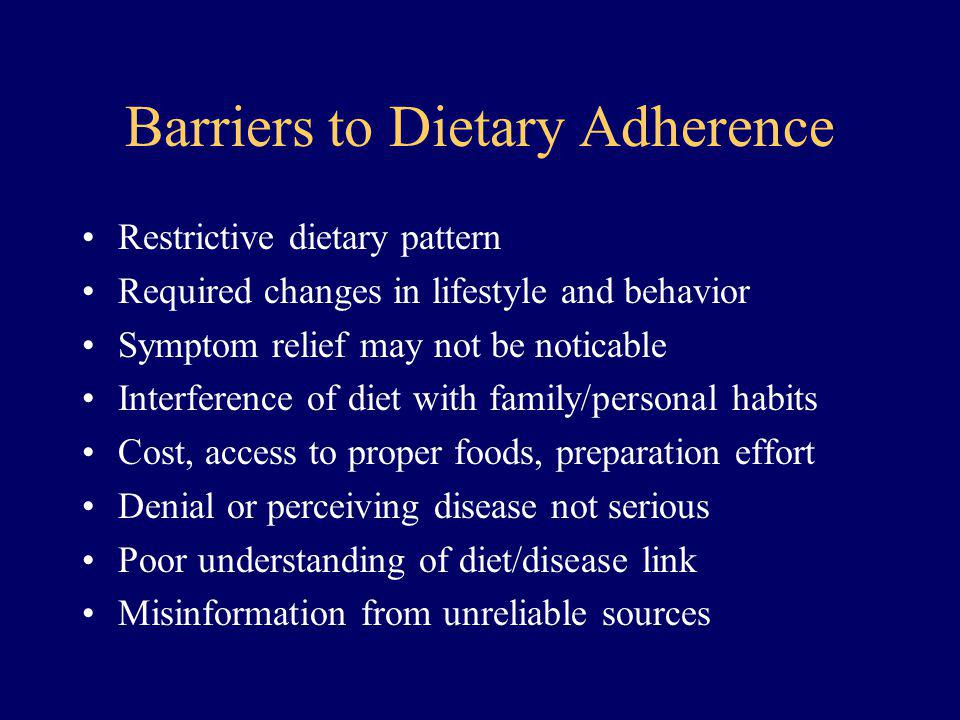 Barriers to Dietary Adherence