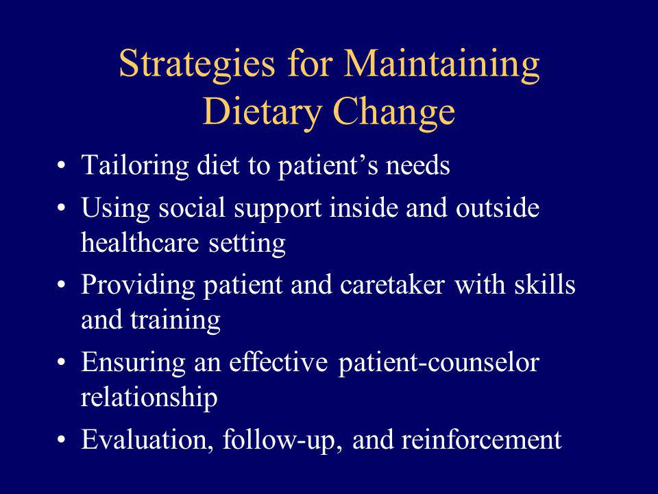 Strategies for Maintaining Dietary Change