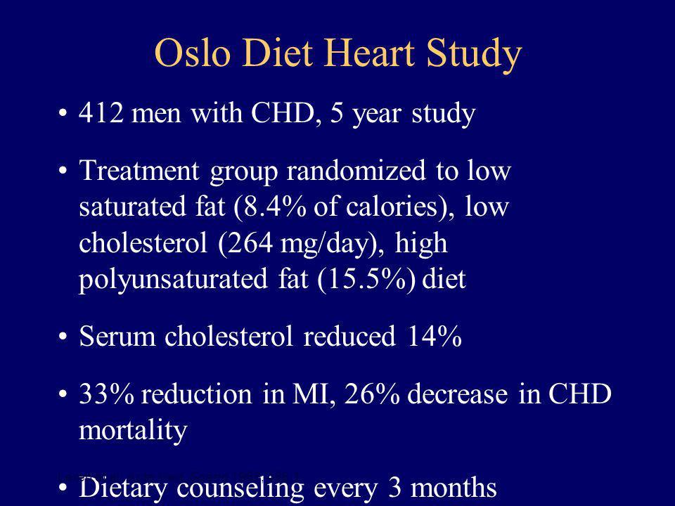 Oslo Diet Heart Study 412 men with CHD, 5 year study