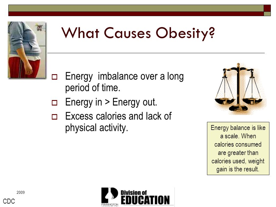 What Causes Obesity Energy imbalance over a long period of time.