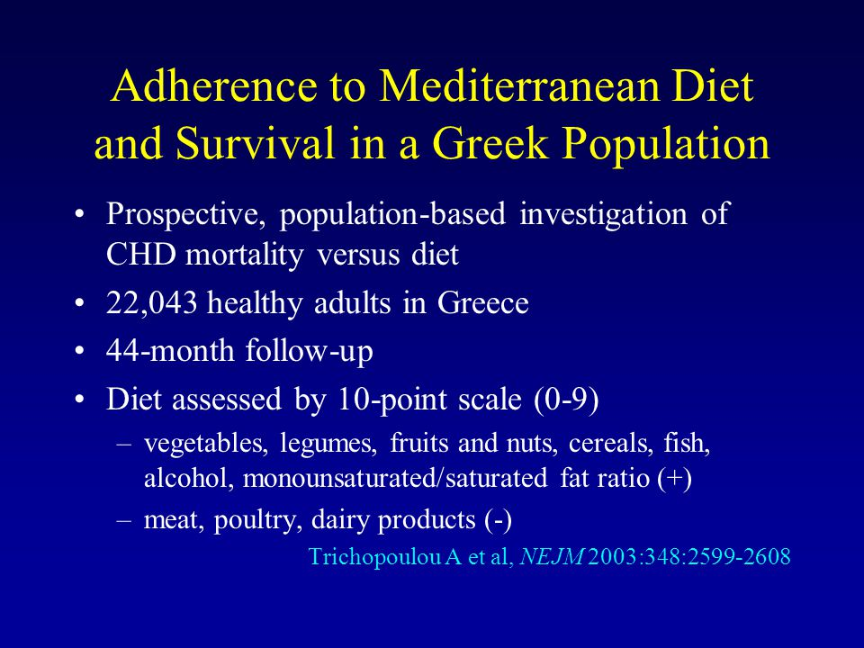Adherence to Mediterranean Diet and Survival in a Greek Population