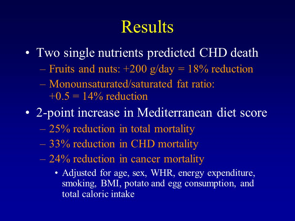 Results Two single nutrients predicted CHD death