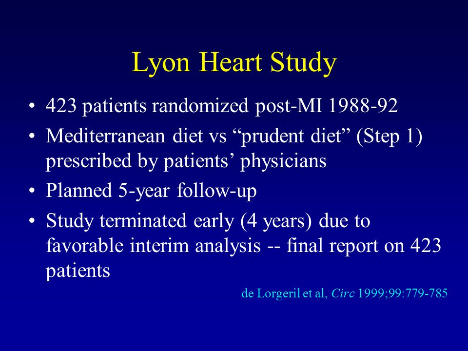 Lyon Heart Study 423 patients randomized post-MI 1988-92
