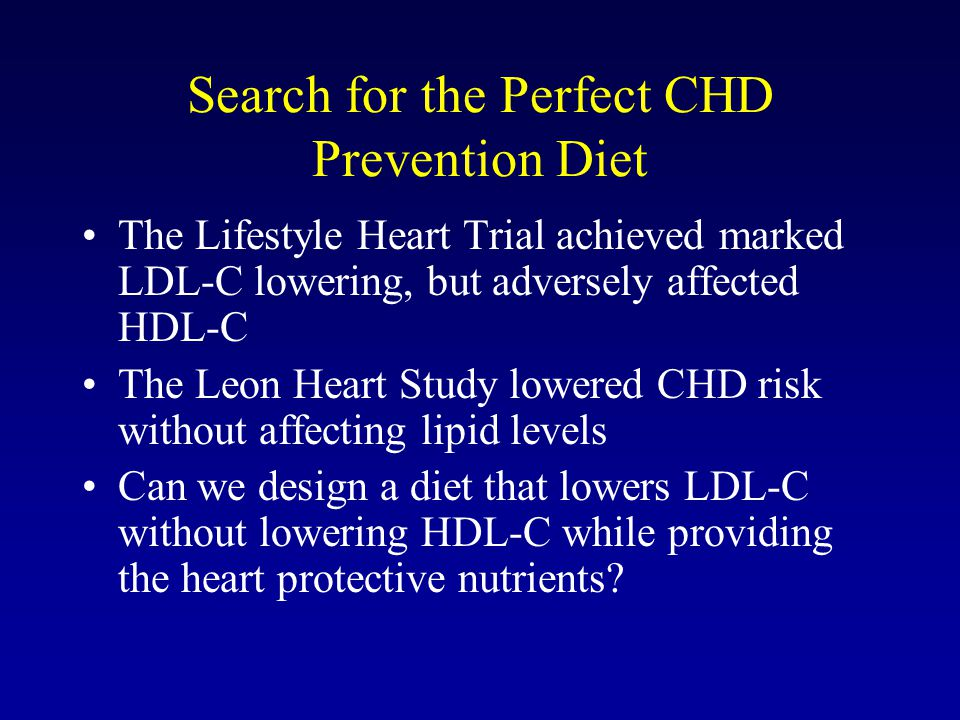 Search for the Perfect CHD Prevention Diet