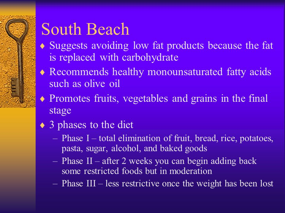 South Beach Suggests avoiding low fat products because the fat is replaced with carbohydrate.