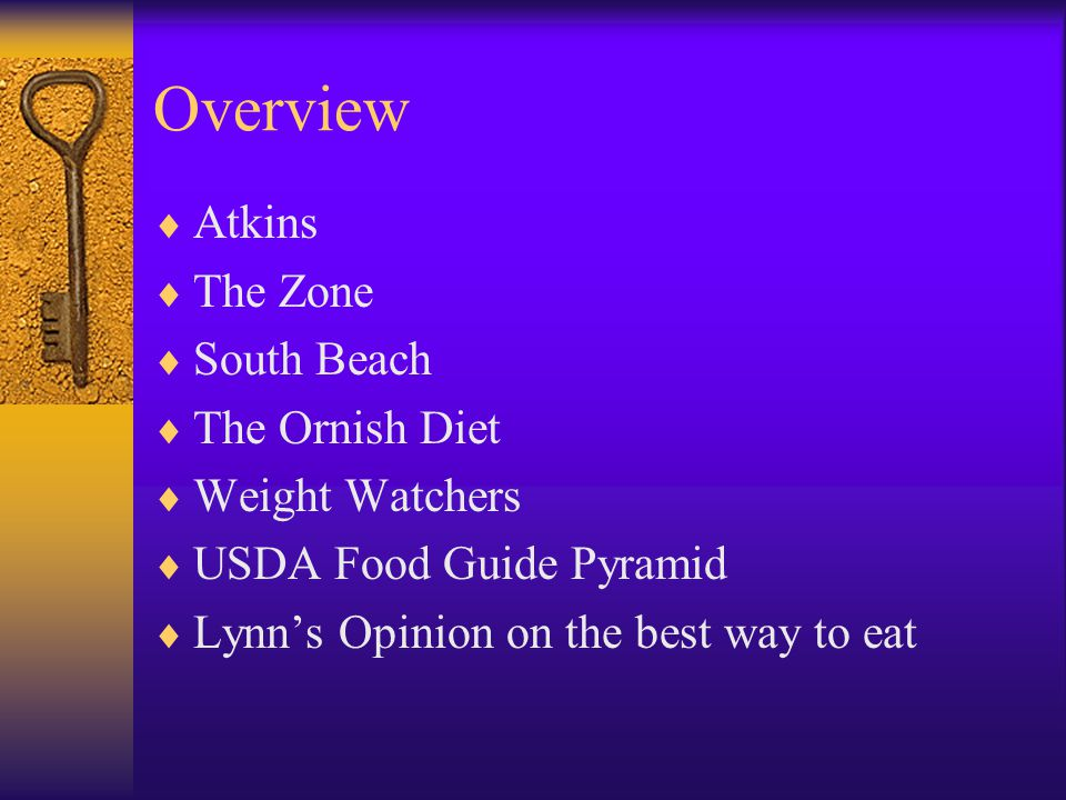 Overview Atkins The Zone South Beach The Ornish Diet Weight Watchers