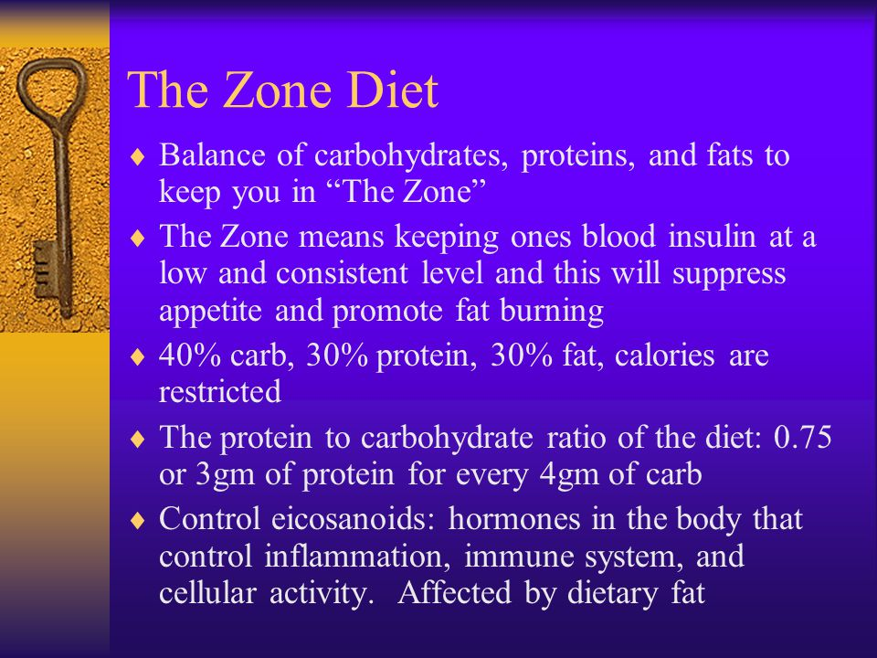 The Zone Diet Balance of carbohydrates, proteins, and fats to keep you in The Zone