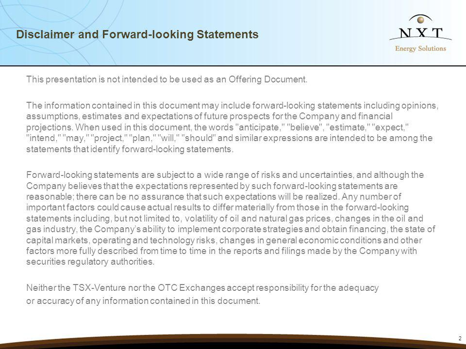 Disclaimer and Forward-looking Statements