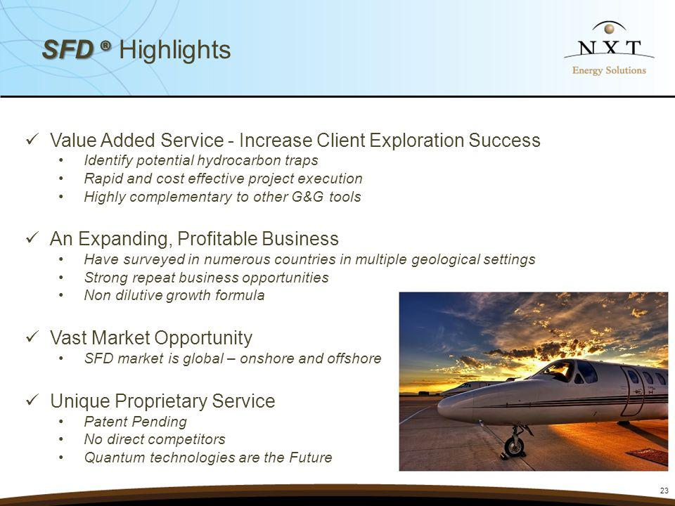 SFD ® Highlights Value Added Service - Increase Client Exploration Success. Identify potential hydrocarbon traps.