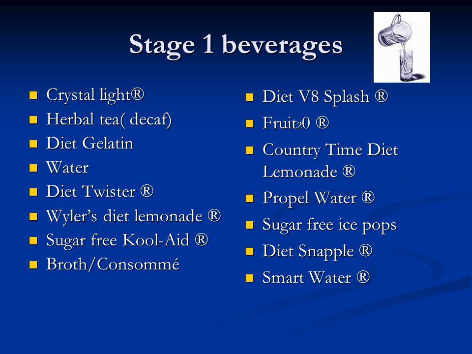 Stage 1 beverages Crystal light® Herbal tea( decaf) Diet Gelatin Water